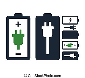 Battery with Power Plug Icon Set Design.