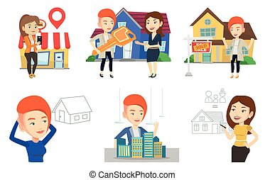Vector set of real estate agents and house owners. -...