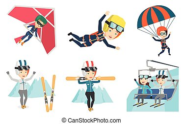 Vector set of sport characters. - Caucasian woman carrying...
