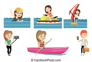 Vector set of sport characters. - Windsurfer windsurfing in...
