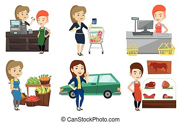 Vector set of shopping people characters. - Cashier standing...