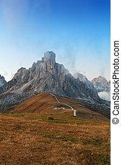Dolomites mountains the Passo di Giau, Monte Gusela at...