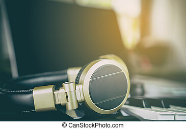 Golden Headphone in Home Music Station
