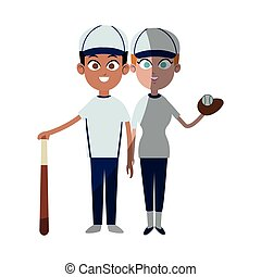 baseball sport desgin - boy and girl with baseball sport...