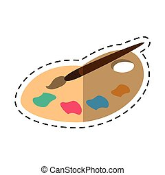 cartoon palette color paint brush