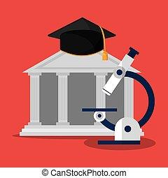 edificio, microscopio, gorra, graduación