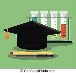 Ciencia, escuela, Conjunto, utensilios