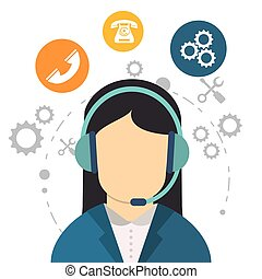 character call center communication work tool vector...