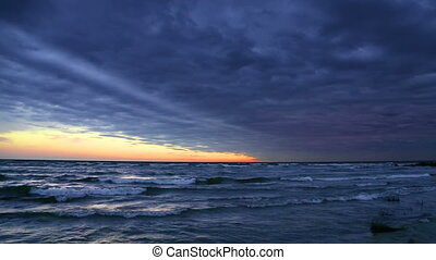 Cloudy Sundown on Lake Michigan Loop - Looping video...
