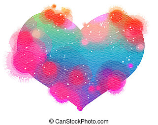 Watercolor heart. Concept about love and relationship....