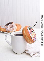 rosquillas, café, todavía, vida