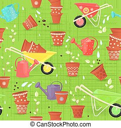 colorful seamless texture with equipment garden and sowing...