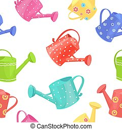 seamless texture with collection of fine watering cans on...