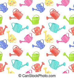seamless texture with collection of funny watering cans on...