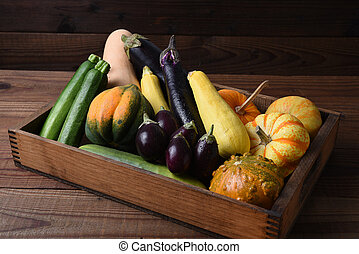 Wood Box Filled with Vegetables