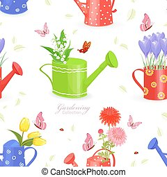 seamless texture with lovely flowers in watering cans and...
