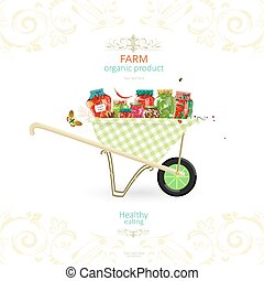 retro banner with tasty pickled foods on garden cart for...