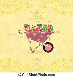 shabby chic banner with yummy pickled foods on retro wheelbarrow
