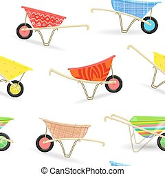 seamless texture with funny garden wheelbarrows