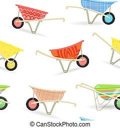 seamless texture with funny garden wheelbarrows