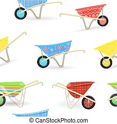 seamless texture with vintage garden wheelbarrows