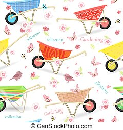 seamless texture with vintage garden wheelbarrows and lovely...