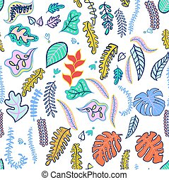 Set of tropical leaf fashionable colors. - Seamless pattern...