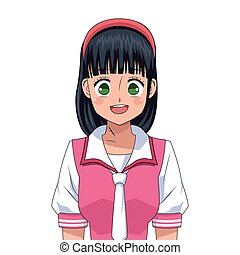 anime girl japanese character vector illustration eps 10