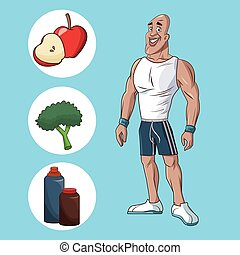 healthy man athletic muscular food nutrition diet