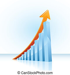 Business growth bar graph - glossy vector bar graph showing...