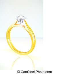 brilliant diamond engagement ring in yellow gold, set on a...