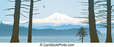 Mount Baker, Washington State panoramic. Looking over the...