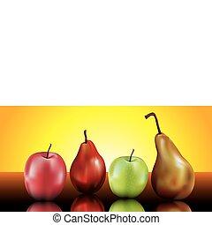 peras, manzanas, todavía, vida