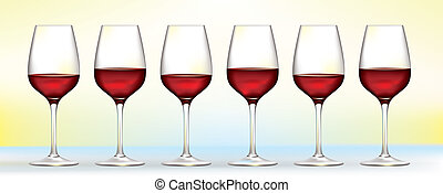 six vector red wine glasses