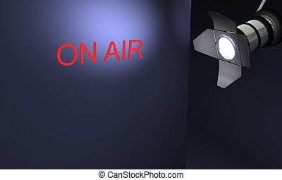 Studio with text on air