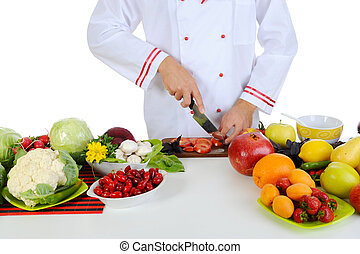 Chef cuts the vegetables Isolated on white