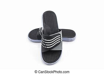 Sandals shoes. Black color flip flops. - Sandals shoes....