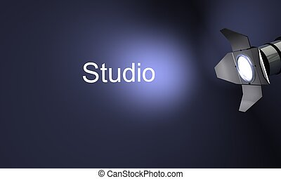 Studio with text studio on blue background