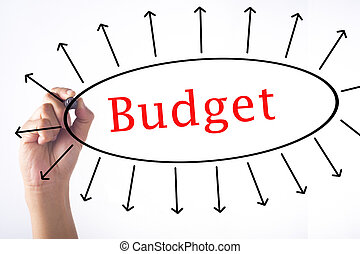 Hand writing Budget concept on transparent board