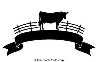 Logo with cow. - Logo with silhouette of a cow farm.