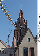 Cathedral with construction site of the new houses on the...