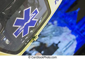 ambulance at night closeup of the vehicle