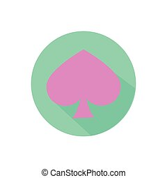 spade. on a white background in a bright circle. Trendy flat...