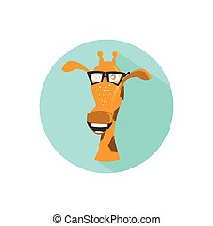 giraffe. on a white background in a bright circle