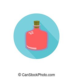 bottle. on a white background in a bright circle. Trendy...