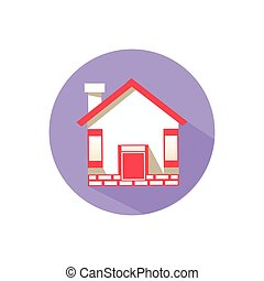 house. on a white background in a bright circle