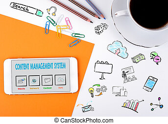 Content Management System concept. Mobile phone and coffee...