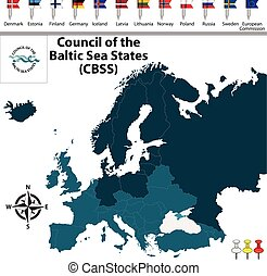 Council of the Baltic Sea States - Vector map of Council of...