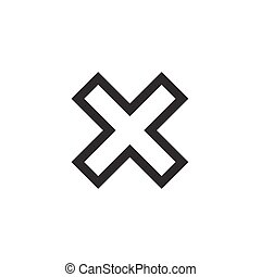 Cross sign red element - Cross sign element. Black X icon...