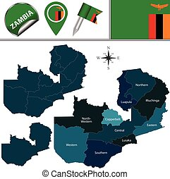 Map of Zambia with Named Provinces - Vector map of Zambia...